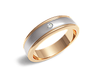 Кольцо обручальное Twin Set One белое и красное золото с бриллиантом - № 310-0041