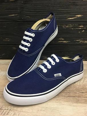 Стильные кеды в стиле Ванс Vans Authentic синего цвета в наличии, фото 2