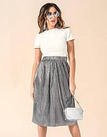 Женский комплект из юбки плиссе серого цвета и белого топа. Модель 17730. Размеры 42-46, фото 1