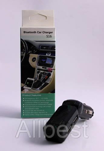 FM модулятор в авто / ФМ трансмиттер S16 с Bluetooth / блютуз