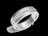 Кольцо обручальное Twin Set One белое золото с бриллиантом - № 220-0082