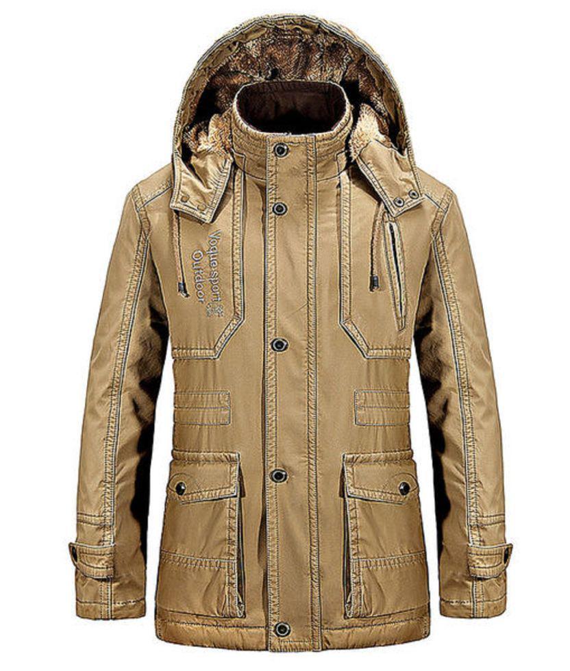 Модная толстая, теплая мужская куртка с отстегивающим капюшоном с стоящим воротником на утином пуху.