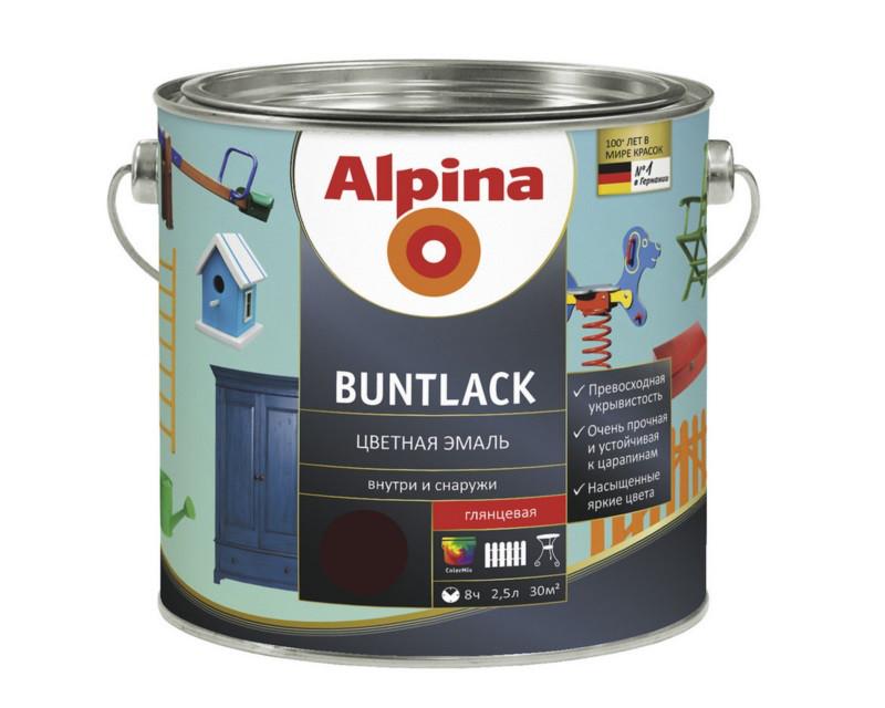 Эмаль алкидная Alpina Buntlack универсальная, глянцевая, шоколадная - RAL8017, 2,5л