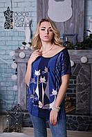 Женская блуза силуэта асимметрии размеры 46-56 код 1737-1, фото 1