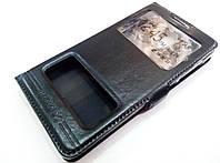 Чехол книжка с окошками для Lenovo A536 черный