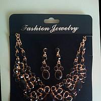 Набор бижутерии под золото с черными камнями, колье и серьги, фото 1