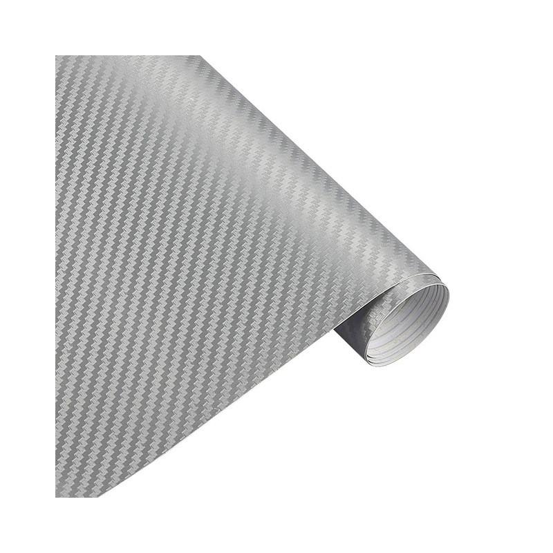 Карбоновая пленка 3D рулон 10х20 см СЕРЕБРЯНАЯ