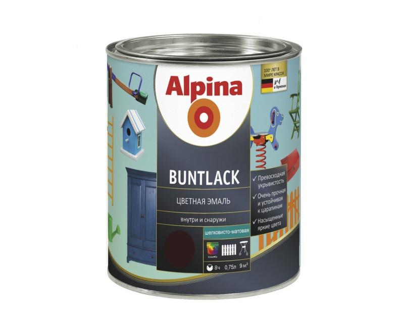 Эмаль алкидная Alpina Buntlack универсальная, полуматовая, шоколадная - RAL8017, 0.75л