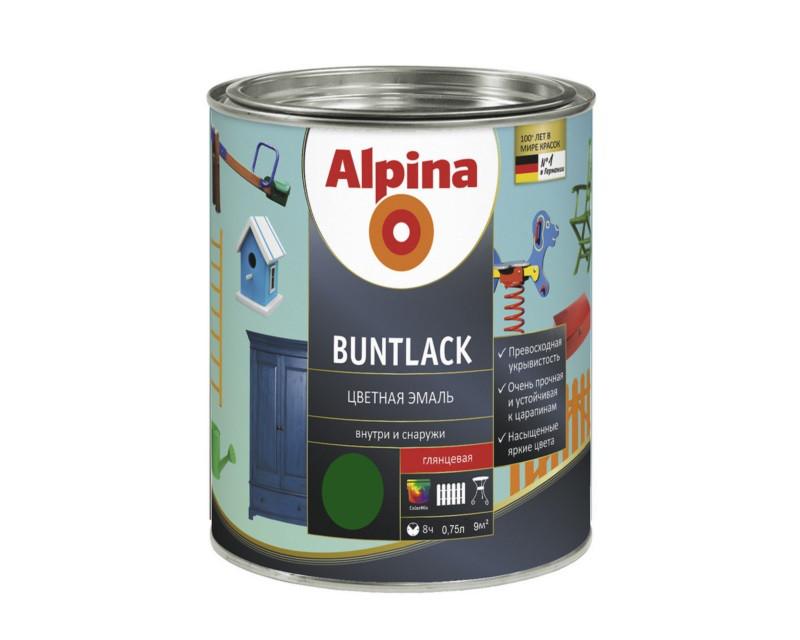Эмаль алкидная Alpina Buntlack универсальная, глянцевая, зеленая - RAL6002, 0,75л