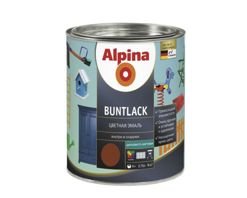 Эмаль алкидная Alpina Buntlack универсальная, полуматовая, коричневая - RAL8003, 0.75л