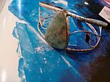Браслет з ларимаром. Браслет-манжет з натуральним каменем ларимар (Домінікана) в сріблі., фото 3