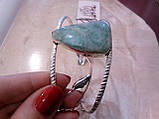 Браслет с ларимаром. Браслет-манжет с натуральным камнем ларимар (Доминикана) в серебре., фото 2