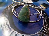 Браслет з ларимаром. Браслет-манжет з натуральним каменем ларимар (Домінікана) в сріблі., фото 4