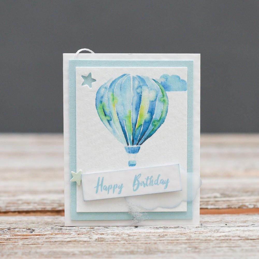 Мини открытка Happy Birthday голубой воздушный шар