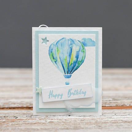 Мини открытка Happy Birthday голубой воздушный шар, фото 2