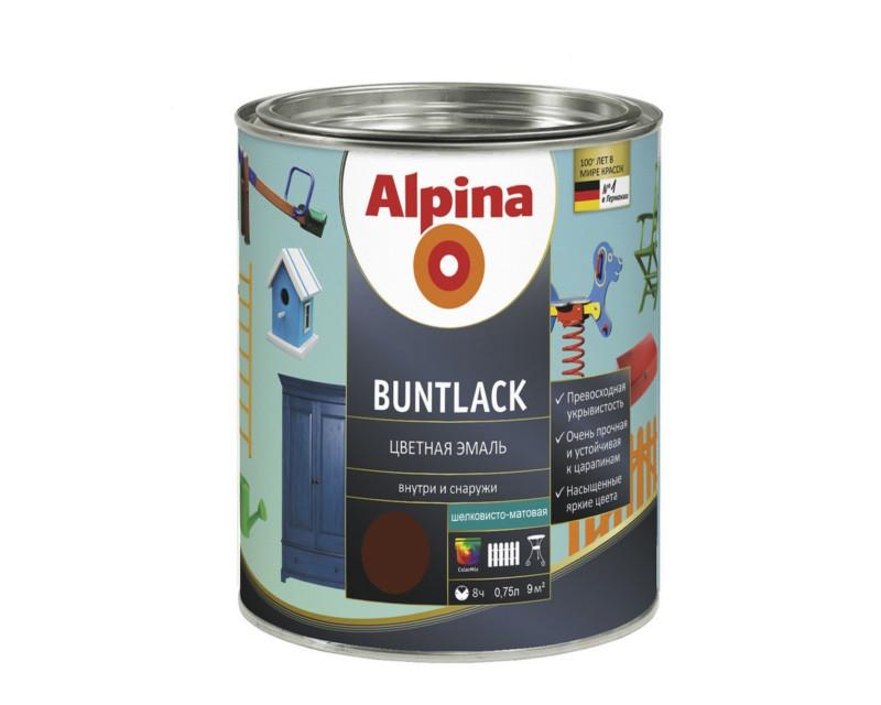 Эмаль алкидная Alpina Buntlack универсальная, полуматовая, темно-коричневая - RAL8011, 0.75л