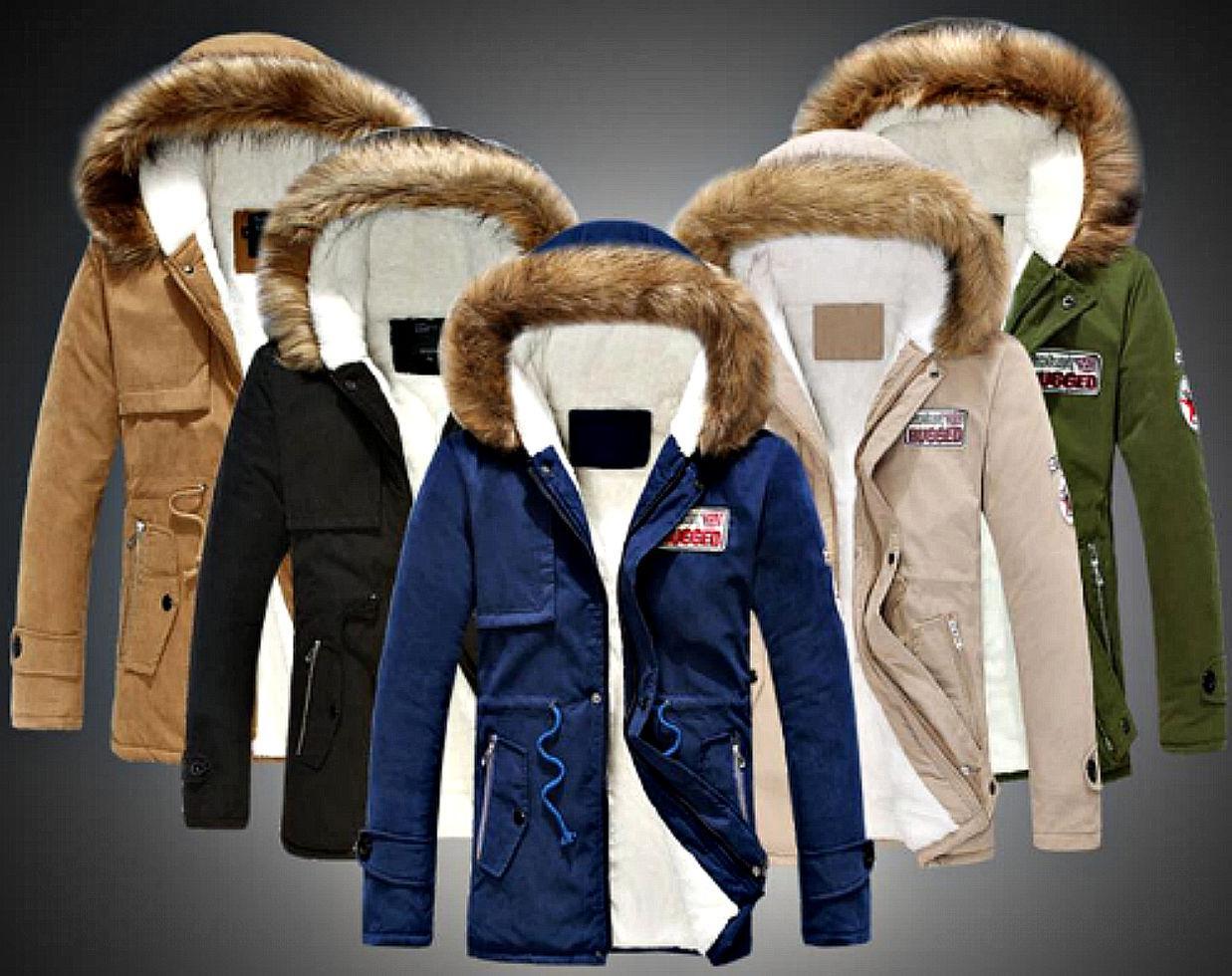 Мужские, толстые, теплые, зимние пуховики-парки на белом гусином пуху