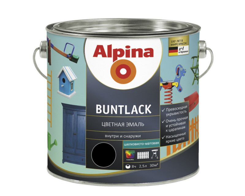 Эмаль алкидная Alpina Buntlack универсальная, полуматовая,  черная - RAL 9005, 2,5л