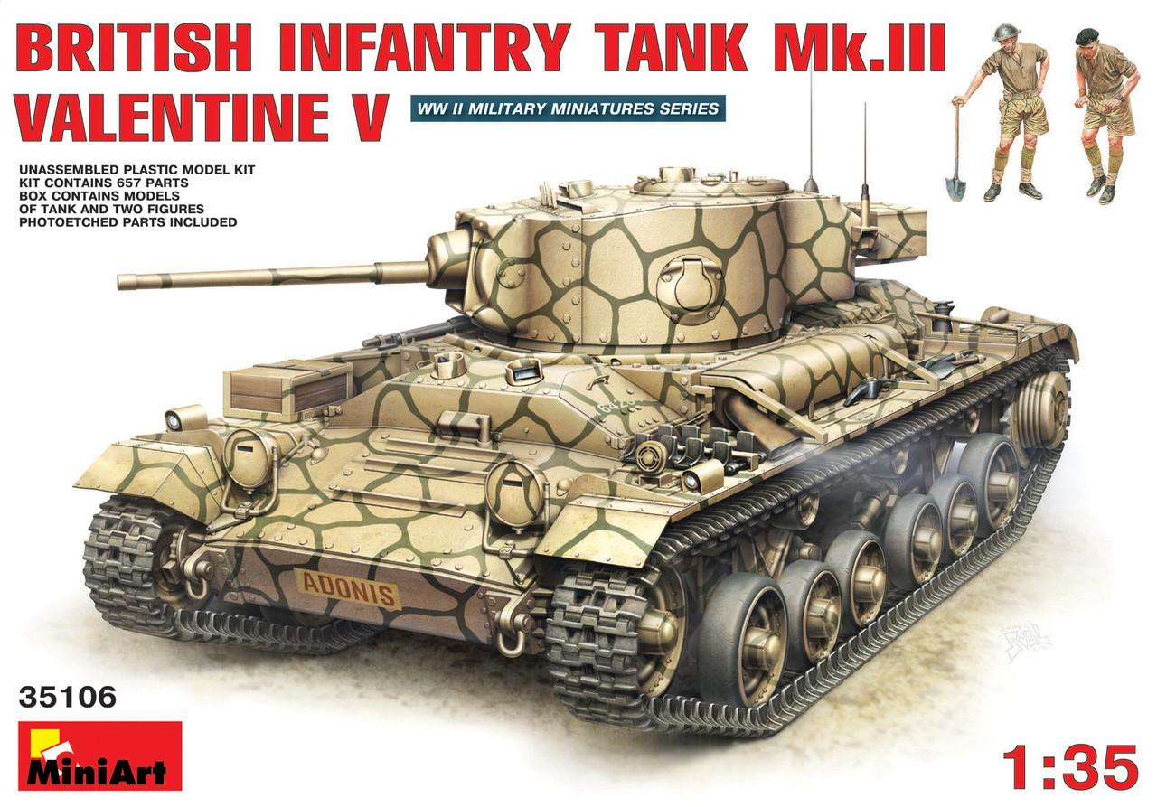 БРИТАНСКИЙ ПЕХОТНЫЙ ТАНК Mk.III ВАЛЕНТАЙН Мк. V с/ЭКИПАЖЕМ. 1/35 MINIART 35106