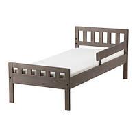 MYGGA  Каркас кровати с реечным дном, серо-коричневый