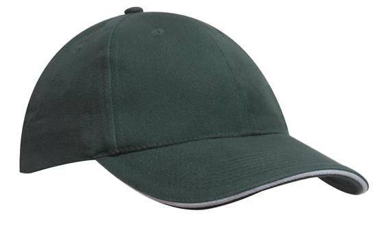 Кепка-сэндвич темно-зеленая с белой полоской Headwear proffesional - 00613