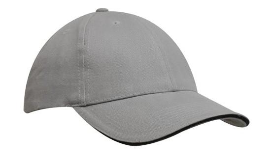 Кепка-сэндвич серая с черной полоской Headwear proffesional - 00615