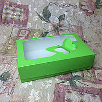 Коробка под зефир / *h=6* / 230х150х60 мм / печать-Салат / окно-Бабочка, фото 1