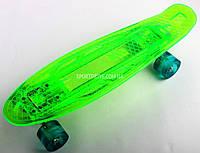 Скейт Penny Board Зеленый с LED-подсветкой и светящимися колесами, фото 1