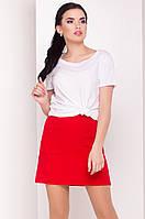 Женская мини-юбка красного цвета. Модель 15178. Размеры 42-46, фото 1