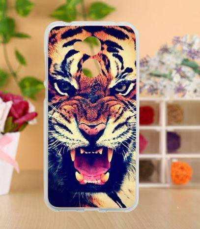 Оригинальный силиконовый бампер для Huawei honor 6A с картинкой оскал тигра, фото 2