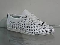 Кожаные женские туфли на шнуровке с перфорацией белые, фото 1