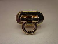 Замок поворотный, для барсетки, кошелька 30 х15 мм золото