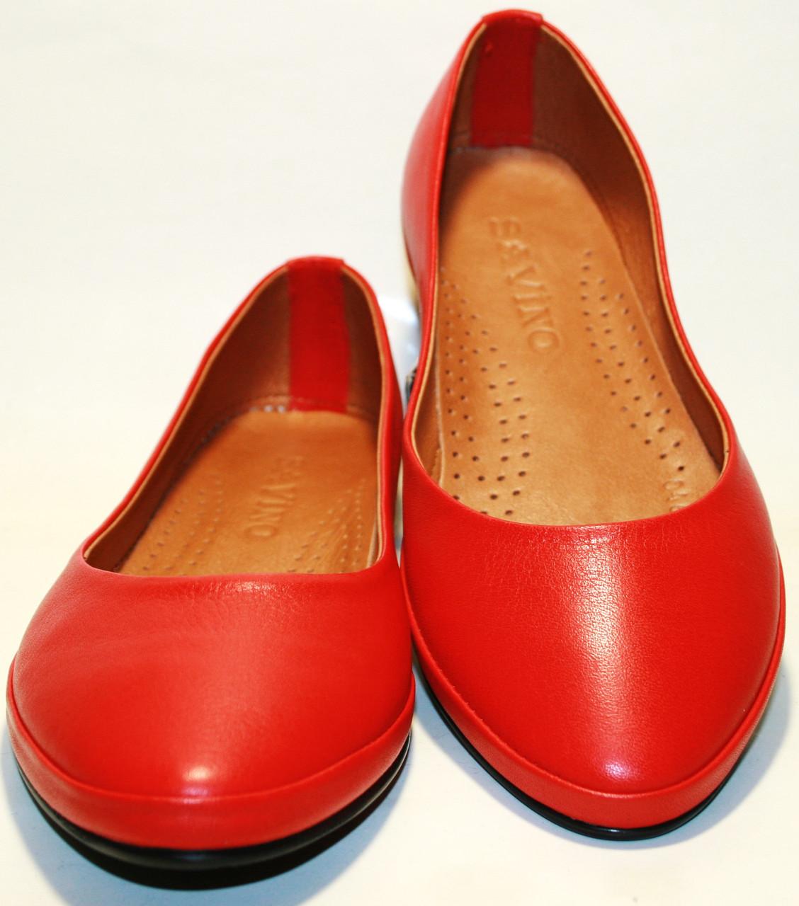 Закрытые балетки красного цвета Savino