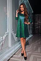 Короткое блестящее вечернее платье из пайеток. Цвета!, фото 1