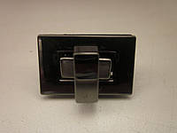 Замок поворотный, для барсетки, кошелька 27 х17 мм тёмный никель