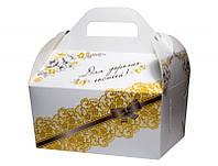 Коробочка для свадебного каравая с золотистыми узорами