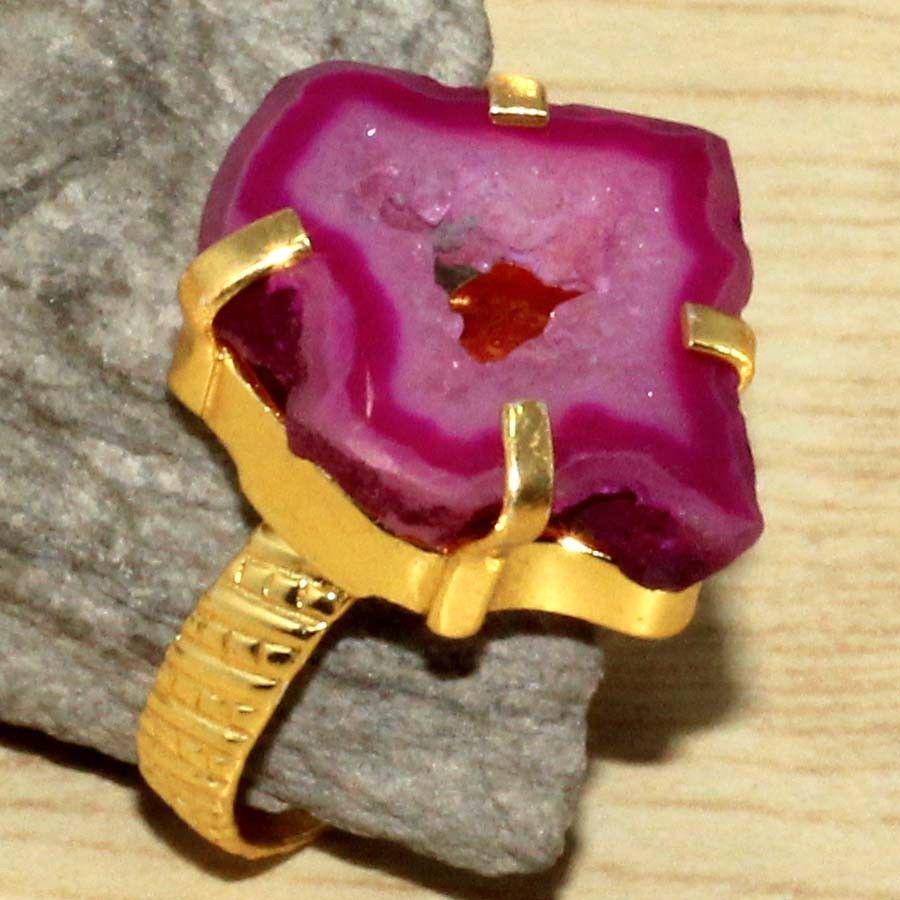 Красивое кольцо жеода агата в позолоте. Кольцо с жеодой агата 18,5 размер Индия!
