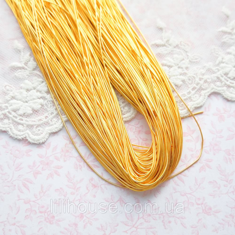 """Канитель гладкая """"Яркое золото"""" Индия, 0.5 мм - 10 г."""