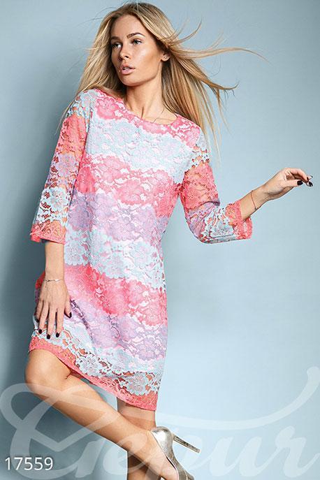 8d1d37ff6aec1e6 Разноцветное Гипюровое Платье — в Категории