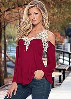 """Женская блуза-кофта """"Vest"""" с кружевной окантовкой длинный рукав (бордо)"""