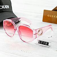 Женские брендовые очки Gucci Гуччи круглые с толстыми дужками розовые 566f898f029