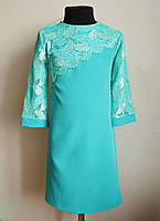 Нарядное детское платье для девочек 6-12 лет бирюзового цвета, фото 1