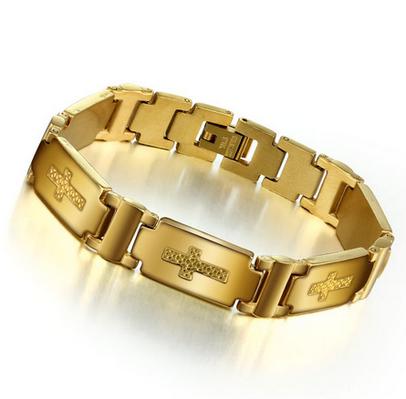 Браслет Мужской Золото с крестиком