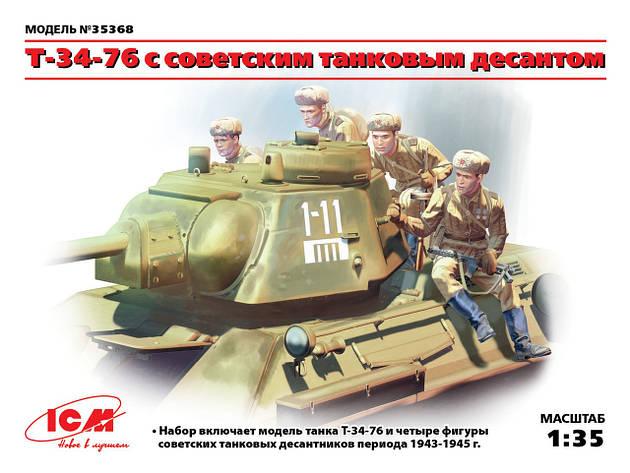 T-34-76 с советским танковым десантом. 1/35 ICM 35368, фото 2