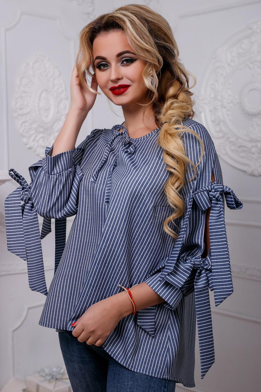 Красивая стильная женская  PREMIUM РУБАШКА 2572 темно-синий