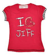 """Футболка детская """"I Love jiff"""" из качественного трикотажа, для девочек. размеры 6-10 лет"""