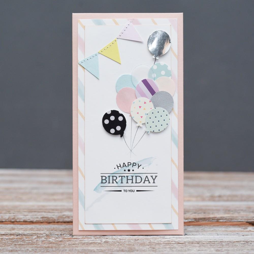 Открытка конверт Happy Birthday Воздушные шарики