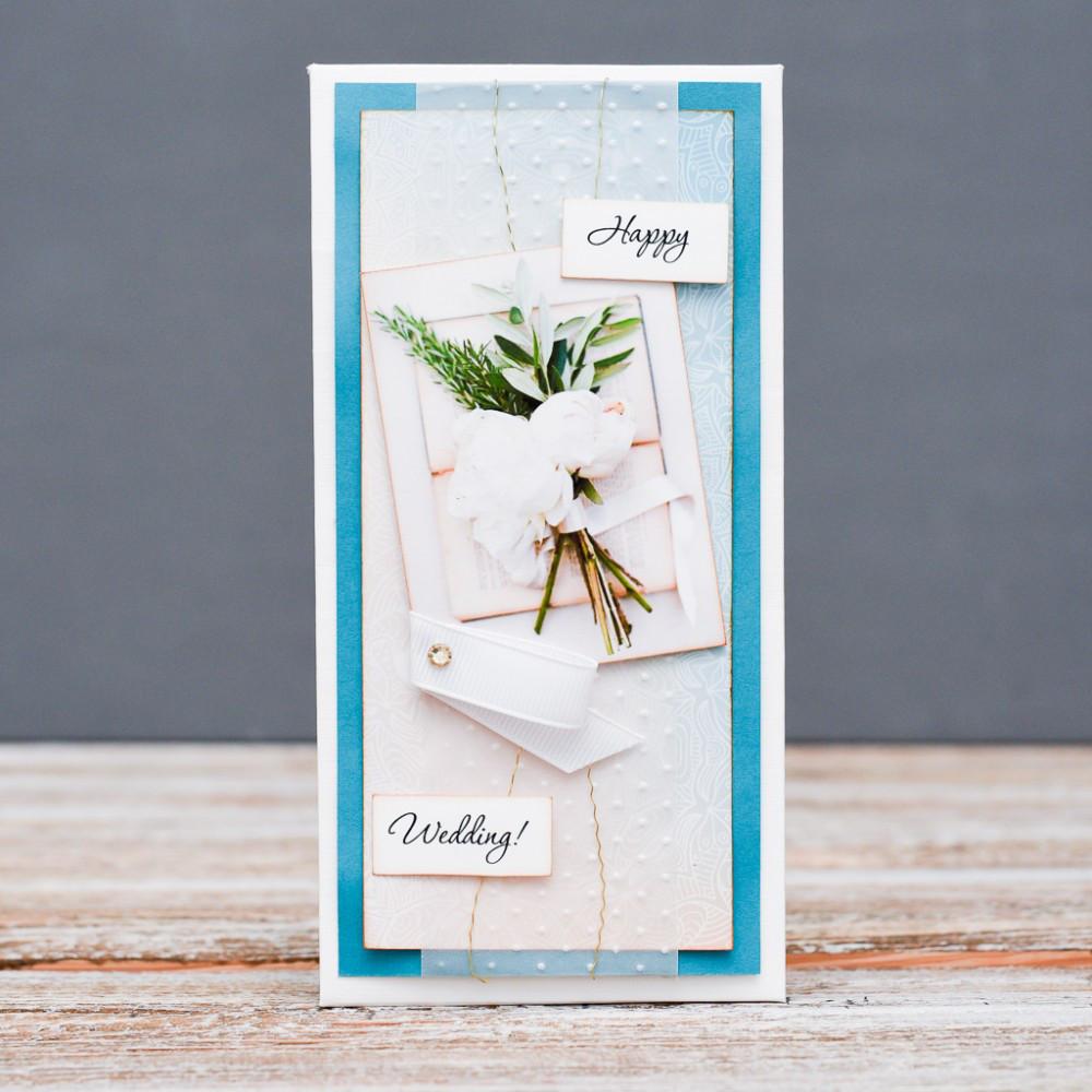 Открытка конверт Happy wedding белые пионы