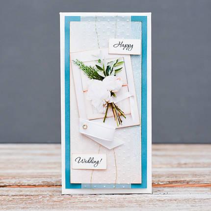 Открытка конверт Happy wedding белые пионы, фото 2