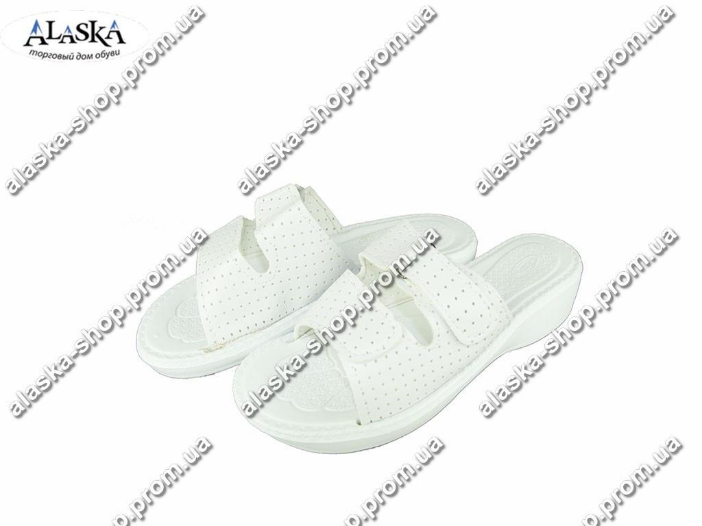 Женские шлепки (Код: Траффик кожзам белый )
